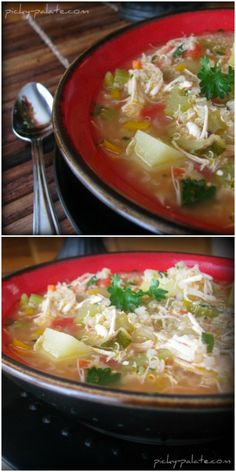 Healthy and Hearty Chicken Quinoa Stew.  Comfort food in a bowl!