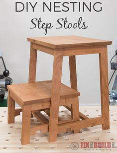 Learn how to build a DIY step stool with an awesome nesting feature. You can use the wooden stools separately for small items or a place to sit or lock them together as shown for a two-level step stool. Full video and plans available! Woodworking Shows, Woodworking Projects For Kids, Popular Woodworking, Fine Woodworking, Woodworking Tutorials, Woodworking Chisels, Woodworking Machinery, Woodworking Workshop, Woodworking Bench