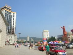 Dandong Train Station and a Statue of Mao!