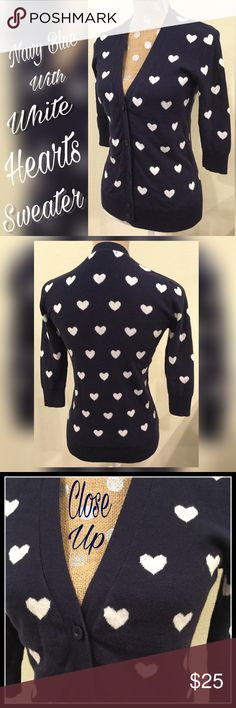 🍁ONE DAY SALE🍁Sweater Adorable button up V-neck navy blue sweater with white heats and 3/4 sleeves. Tini Lili Sweaters