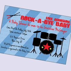 baby boy shower invitation, baby boy shower invite, rock star baby shower invitation, rock star party, any colors, digital, printable file on Etsy, $11.00