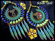 Blue Peacock Earrings Bohemian Chandelier Earrings Big colorful earrings Festival Earrings Hippie tribal earrings southwestern Gypsy dancer