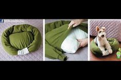 "DIY dog bed! You will need: an old sweatshirt, bed pillow, polyfill or other stuffing, one lucky dog.   1. stuff sleeves and shoulder/collar area of sweatshirt (you might need to put in a few stitches to create a ""pocket"" in the body of the shirt.)   2. insert pillow through bottom of shirt.  3. stitch end of sleeves together   4. attach pillow ""ring"" to bed bottom with a few stitches. Enjoy"
