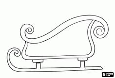 Christmas sleigh to transport gifts, christmas sled coloring page - bjl