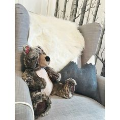 The mountain pillow turned out to be a perfect accent for this wilderness themed baby nursery - so cute.