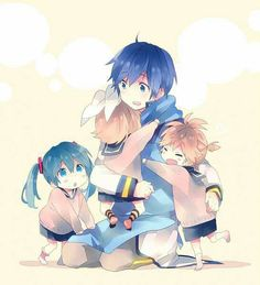 """Previous Pinner: """"Len: Kaito-nii! There was a monster! Rin: Yeah! A monster! Miku: Its true! Kaito: Whaaa?"""""""