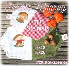Der Stickbär | Herbst-Mugrug mit Steinpilz | Stickmuster mit Herz