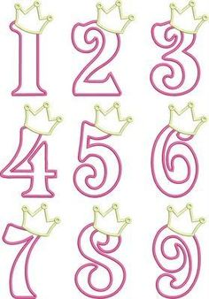 Birthday Princess Numbers- so cute! I& thinking of making the numbers in Candy Melts (fill in solid) and adding to the cake for the Birthday Princess! Royal Icing Templates, Royal Icing Transfers, Cake Templates, Cake Decorating Tips, Cookie Decorating, Princess Cookies, Fondant Letters, Fondant Numbers, Princess Birthday