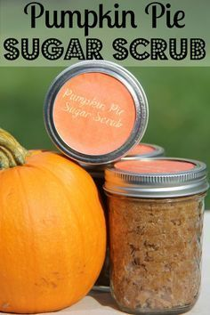Make your own sugar scrubs. Pumpkin Pie Sugar Scrub jars are perfect for gifts and to welcome in the fall.