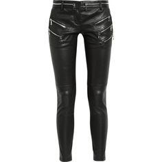 Zip-detailed leather skinny pants ($2,467) ❤ liked on Polyvore featuring pants, jeans, bottoms, calças, pantalones, cropped leather pants, cropped trousers, skinny trousers, black crop pants and black skinny trousers