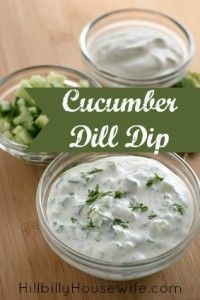 Cucumber Dill Dip Recipe  1 (8 oz.) package cream cheese, softened 1 cup sour cream 1 cup mayonnaise 1 cup chopped green onions 1 medium cucumber, peeled, seeded, and chopped 1 Tbsp. fresh parsley, chopped 1 Tbsp. fresh dill, finely chopped 1 Tbsp. fresh lemon juice 1/4 tsp. salt 1/4 tsp. white pepper  Instructions here  http://www.hillbillyhousewife.com/cucumber-dill-dip.htm