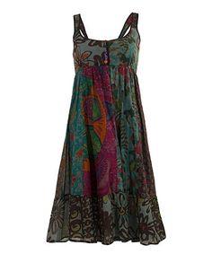 Love this Khaki Floral Ruffle-Hem Dress on #zulily! #zulilyfinds