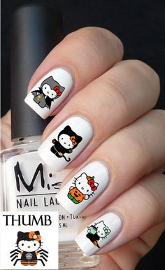 Hello Kitty Halloween nail decals by DesignerNails on Etsy, $3.95