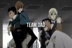 When Kurogane and Fai take care of Sakura and Syaoran, they form TEAM DAD