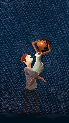 los momentos mas felices los he pasado a tu lado ajo la lluvia...............