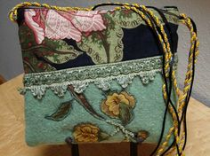 Sale - Messenger Bag in Felted Vintage Wool with Swarovski Beads and Applique Flowers