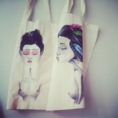 Cotton tote hand painted for special order • byNaja •