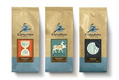 Caribou coffee  Love these beautiful labels, but they're probably too traditional to sell my product.  The colors are harmonious.  Edgy colors would be more eye-catching.