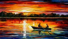 Sunset Paintings by Famous Artists | REMARKABLE MOMENT — Palette knife Oil Painting on Canvas by Leonid ...