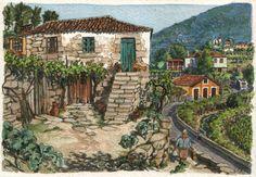 An arrival Original art small 7x5 landscape by Postalguarelas