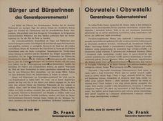 Wojna niemiecko-radziecka - odezwa Generalnego Gubernatora Hansa Franka do ludności GG w związku z wybuchem wojny niemiecko-radzieckiej. Kraków 22 czerwca 1941 r.