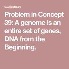 Problem in Concept 39: A genome is an entire set of genes, DNA from the Beginning. Cold Spring Harbor, Cell Biology, Begin, The Cell, Learning Centers, Dna, Markers, Concept, Sharpies