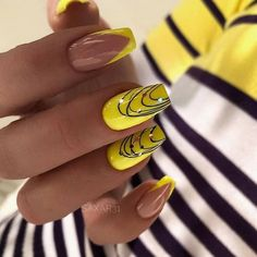 DIY nail art at home and DIY manicure make nail care easy for you. Pick simple at-home nail designs and tutorials for a manicure at home from the best roundup. Acrylic Nail Art, Nail Art Diy, Cool Nail Art, Acrylic Nail Designs, Dope Nails, Fun Nails, Pretty Nails, Color Block Nails, Yellow Nail Art