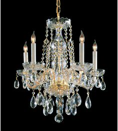 Crystorama Traditional Crystal 5 Light Chandelier in Polished Brass 1061-PB-CL-SAQ