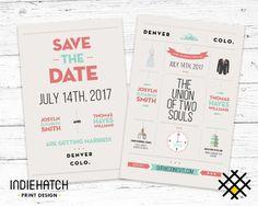 Modern Minimalistic Graphic Design Wedding by IndieHatch on Etsy