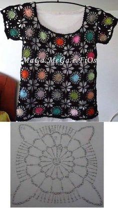 Crochet Granny Square Shrug Love New Ideas T-shirt Au Crochet, Point Granny Au Crochet, Cardigan Au Crochet, Beau Crochet, Pull Crochet, Bonnet Crochet, Mode Crochet, Black Crochet Dress, Crochet Motifs