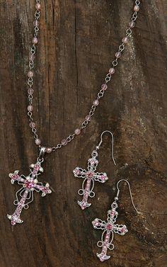 Blazin Roxx® Women's Pink Crystal Cross Necklace & Earrings Set 3030630