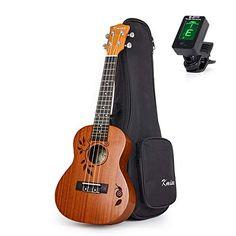 Kmise Concert Ukulele Uke Acoustic Hawaiian Guitar 23 Inch 18 Frets Mahagany with Ukelele Bag and Tuner Ukulele Tuning, Ukelele, I Cool, In My Feelings, Laser Engraving, My Music, Acoustic, Hawaiian, Music Instruments