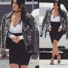 Kim Kardashian West se promène dans les rues de Santa Barbara dans un look Glam Punk. La célébrité sûrement influencée par le style incontournable de son mari porte une #motojacket des @enfantsrichesdeprimes.  Qu'en pensez-vous ?
