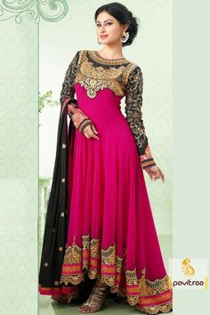 Deep pink and black long Anarkali Salwar suit gives Good-looking heavy Resham embroidery work dupatta bolder lace with multi stone work.