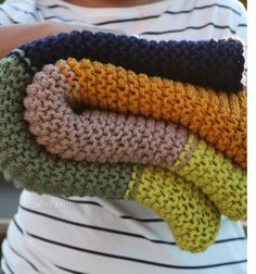 Knitted Cozy Color Garter Stitch Blanket