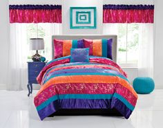 Bedroom : The Surprising Modern Bedroom Ideas Design Along With Red And Purple Curtains On The Windows Also With Colorful Bed Linen With Turquoise Style Plus Pillows And Blanket Designing The Comfortable Bed Linens Blue. White Yellowing. Sets.