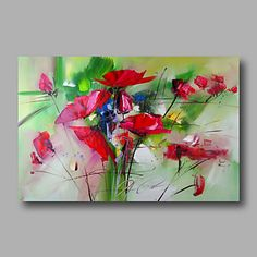 listo para la mano estirada abstractas modernas de la lona de pintura al óleo pintados a mano rosas rojas deco casa un panel 2016 – $93.12