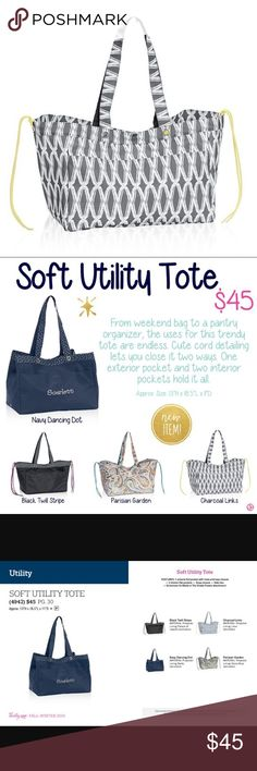 """Thirty One Soft Utility Tote - Charcoal Links Thirty One Soft Utility Tote - Charcoal Links. Most versatile Tote sold by 31. Measures approximately 13"""" x 18.5""""L x 11""""D. New With packaging, never used. Thirty One Bags Totes"""