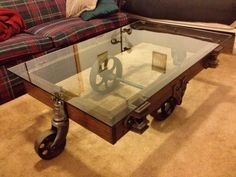 Wheeled Antique Coffee Table With Dulles Glass Table Top (Customer  Submission)