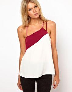ASOS Cami Asymmetric Straps (Cream /Red) UK Size 4 RRP £21.00