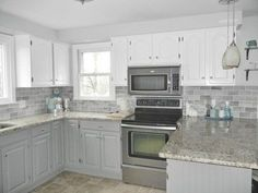 White and Light Gray Kitchen Cabinets.