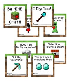 Free printable Minecraft Valentine's Day Cards from A Grand Life