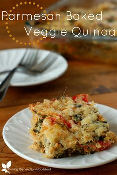 Parmesan Baked Veggie Quinoa // Raising Generation Nourished - MY NOTES: Such a yummy, easy dish. Note the directions want 3 cups of quinoa COOKED ; Veggie Recipes, Crockpot Recipes, Whole Food Recipes, Cooking Recipes, Baked Quinoa Recipes, Dinner Recipes, Veggie Food, Cooking Tips, Veggie Bake
