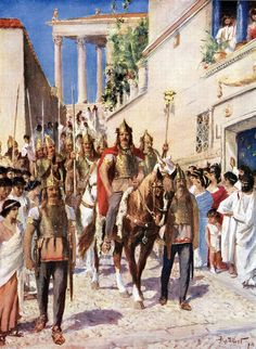 Illustration from the 1920s depicting Alaric I parading through Athens after conquering the city in 395.