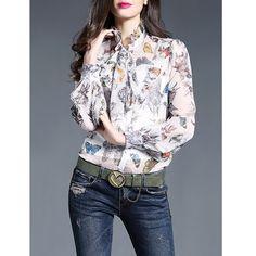 Original 2017 Brand Blusas Plus Size Ruffled Collar Slim Casual Elegant Balloon Sleeve Silk Blouse Women Wholesale