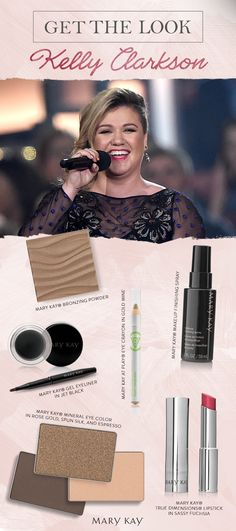 Makeup artist Ashley Donovan balanced Kelly Clarkson's dazzling lip color with subtle gold hues on her eyes and cheeks. Take a peek at the Mary Kay® products used to get Kelly ready to take the stage at the ACM Awards!