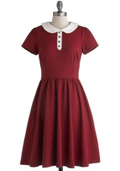 Fond Voyage Dress by Myrtlewood - Knit, Red, White, Buttons, Peter Pan Collar, Casual, A-line, Short Sleeves, Better, Collared, Solid, Pockets, Vintage Inspired, 50s, Exclusives, Private Label, Full-Size Run, Fall, Winter, Long