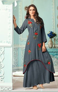 kalakruti Vol 5 long kurti catalog suplier sethnic in Surat Frock Style Kurti, Jacket Style Kurti, Kurti With Jacket, Kaftan Style, Cold Shoulder Kurti, Cold Shoulder Dress, Denim Frocks, Front Slit Kurti, Floor Length Kurti