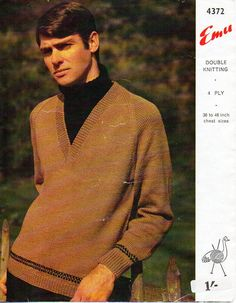 "mens sweater polo insert knitting pattern pdf 4ply DK mens v neck jumper vintage 1960s 36-46"" 4ply sport DK lt worsted 8py instant download by Hobohooks on Etsy"