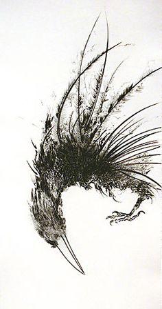 'Walla Walla Crow' (1996) by American artist printmaker Frank Boyden. Drypoint, 22.25 x 10.375 in. via Davidson Galleries